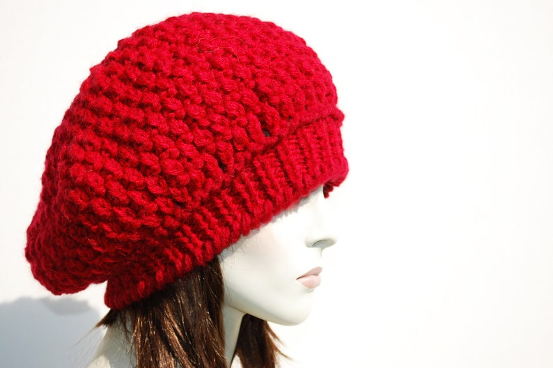 874c61fcb6a Red Beret-Knit Hat Women-French Beret-Wool Hat-Beanie
