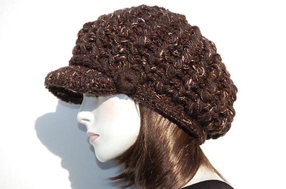 e191422f07f Womens Hat Newsboy-Chunky Hat-Chunky Knit Hat-Knitted Newsboy