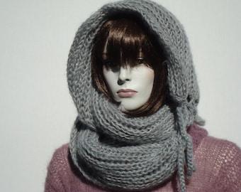 Wool Hooded Scarf-Chunky Scarf-Circle Scarf-Oversized Wool Scarf-Infinity Scarf Hood-Chunky Knit Scarves-Hoodie Scarf-Oversized Scarf