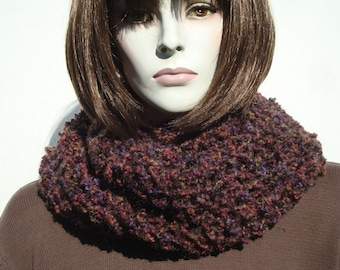 Winter Thick Scarf in Brown Color for Womens, Handmade Crocheted Scarf, Woman Brown Scarf, Infinity Scarf, Women Scarves