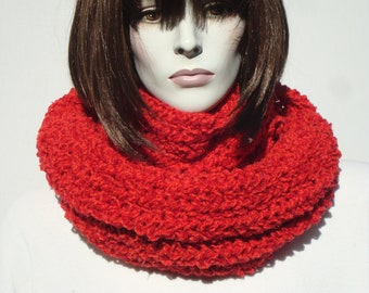 Knit Eternity Scarf-Hand Knitted Scarf-Hooded Scarf-Scarf Infinity Knit-Chunky Circle Scarf-Winter Circle Scarf-Knit Scarf-Hooded Cowl