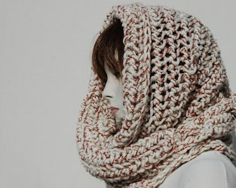 Oversized Scarf-Knit Eternity Scarf-Fall Scarves-Infinity Fall-Knit Shawl-Women Eternity Scarf-Wool Shawl-Circle Scarf-Hooded Scarf-