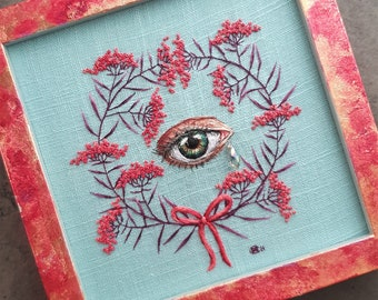 Among Reds - The Pace of Nature Series - Lover's Eye - Modern Embroidery - Botanical Art - Dark Botanical - Woodland - Wall Decor