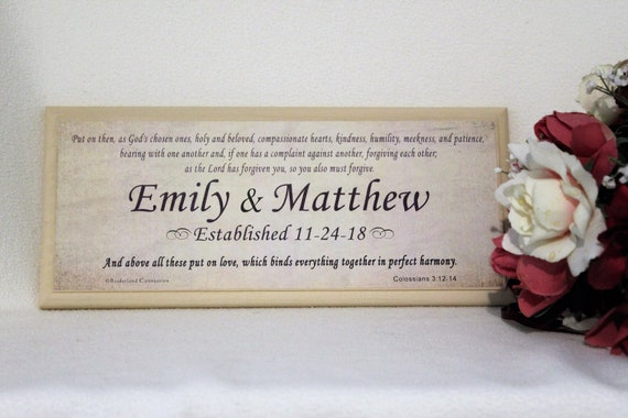 wedding gift personalized marriage scripture personalized etsy