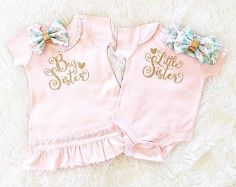 Girls' Clothing Set, Big Sister Little Sister set  (dress & gown only/headbands separate) long or short slv, newborn outfit.