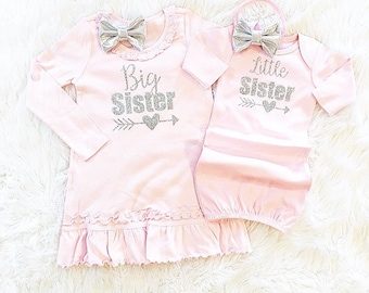 Big Sister Little Sister set  (dress and gown only/headbands separate) coming home outfit, SHORT SLEEVE or LONG