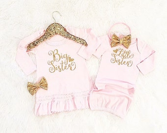 Girls' Clothing Set, Big Sister Little Sister set  (dress & gown only/headbands separate) coming home outfit, birth announce