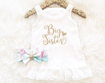 Girls' Clothing Set, Big Sister Outfit, Big Sister dress, Coming Home Outfit Big Sister