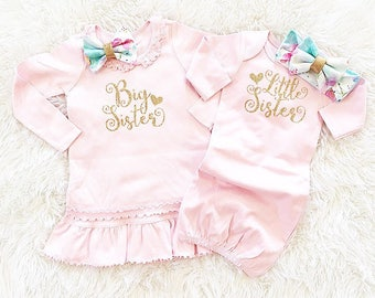 Girls' Clothing Set, Big Sister Little Sister set, short/long slv (dress/gown only/headbands separate) coming home outfit,  newborn outfit.