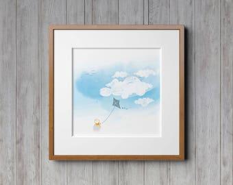 Nursery Clouds, Nature Prints, Wall Art, Nursery Decor, Kite, Kite Decor, Watercolor Print, Sky Blue, Flying Kite, Boys Room Decor