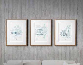Rustic Home Decor, Rustic Wall Decor, Rustic, Rustic Nautical, Boys Nursery, Nautical Decor, Nautical Wall Decor, Triptych