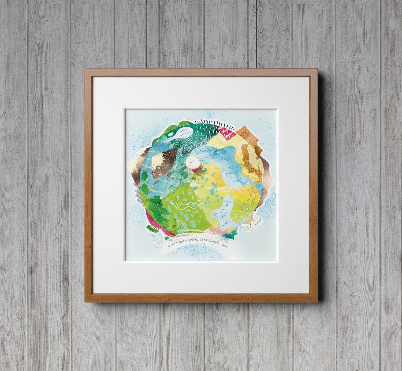 Hello World Earth Day Nature Prints Wall Art Nursery