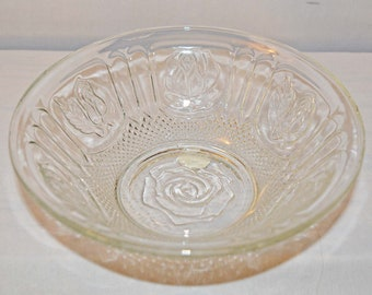 KIG Indonesia Crystal Clear Bowl Rose Pattern