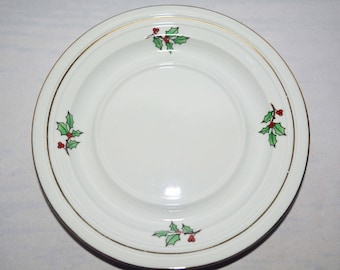 """One Meiwa Holiday Hostess Christmas 6 1/4"""" Saucer Plate Home for the Holidays 1990s (12 available)"""