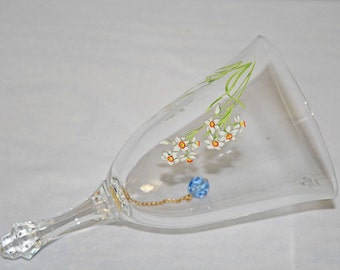 Avon Crystal Birthday Bell December Stone Blue Topaz Flower Narcissus 1986