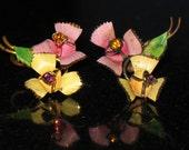 Vintage Austrian Crystal Gold Wash and Enamel Floral Screw Back Earrings