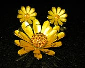 Demi-Parure Citrine Floral Brooch and Earring Heavy Gold Tone  Clip On Set