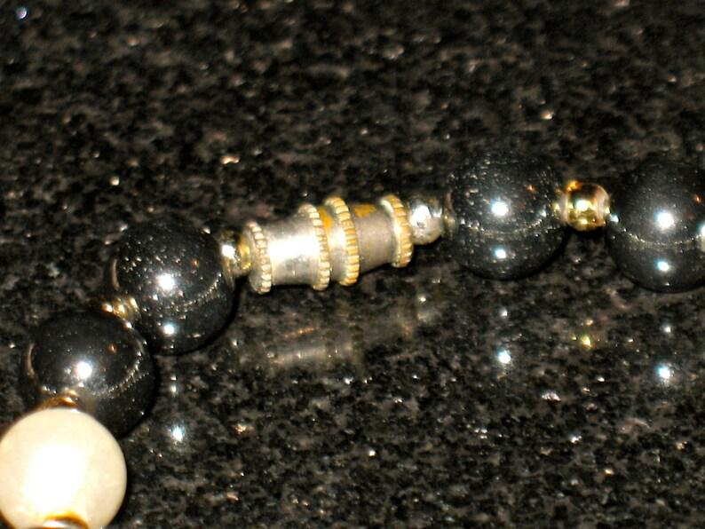 Vintage Polished Gem Hematite and Pearl Necklace 18.5 inch