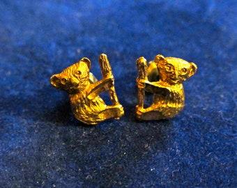 Small Koala Diamond Cut Gold Tone Stud Earrings