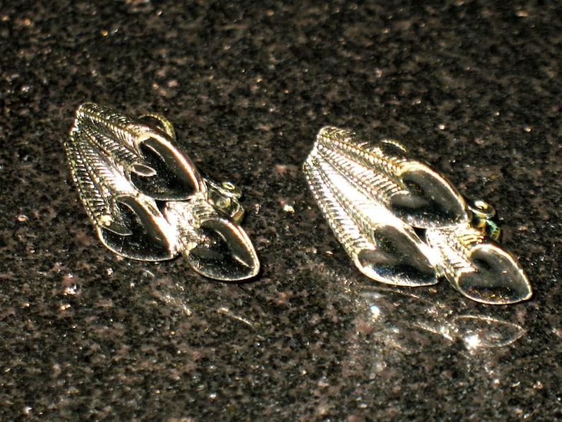Vintage Coro Art Deco Infinity Hearts Silver Tone Clip On Earrings