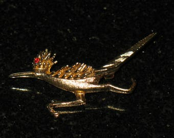 Marcel Boucher Roadrunner Bird Gold Tone Brooch