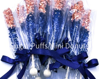 12 Navy Royal Blue Rose Gold Rock Candy Sugar Sticks Sweets Table Birthday Party Favors Wedding Baby Bridal Shower Corporate Event