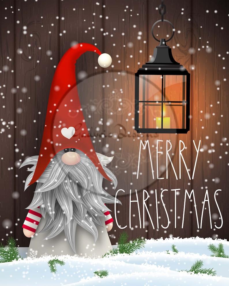 Merry Christmas Gnome Lantern digital download printable sign image 0
