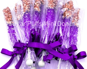 12 Royal Purple Rose Gold Candy Sugar Sticks Sweets Table Birthday Party Favors Wedding Baby Bridal Shower Gluten Free Corporate Event