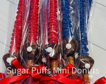 12 Baseball Mitt Chocolate Covered Pretzels Red Blue Team Colors Birthday Shower Party Baby Shower