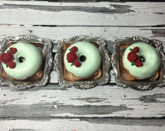 1 Dozen Mint Green Red Rose Kentucky Derby Donuts Doughnuts Wedding Baby Bridal New Years Sweets Table Candy Buffet Birthday Favors Treats