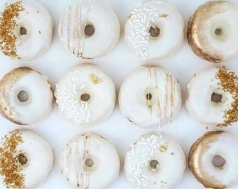 12  Gold White Mini Donuts Doughnuts Wedding Baby Bridal Christmas New Years Sweets Table Candy Buffet Birthday Favors Treats