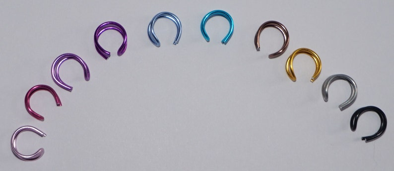 Coloured Fake Double Nose Ring Ear Cuff Tragus fake body jewellery no piercing ear cuff teal ear cuff pink ear cuff purple ear cuff