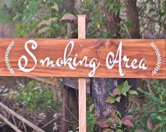 "Ready To Ship ""Smoking Area"" wedding sign for designating smoking area of wedding reception or other event"