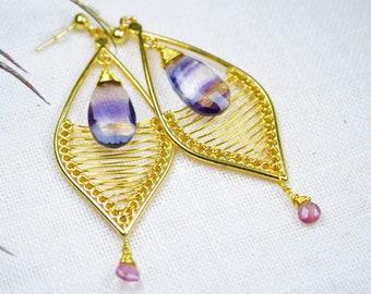 nacres Véritable opale Moonstone Lapis Améthyste Plaqué Argent Hoop Earring Jewelry