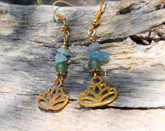 Golden jade lotus earrings green aquamarine