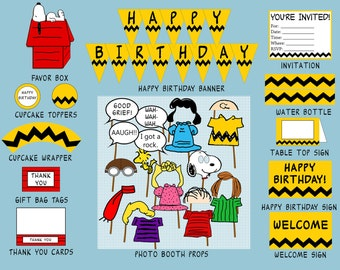 The Peanuts Theme Birthday Party Pack - Digital Download