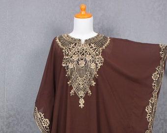 76abdfdc442921 Kaftan Maxi eenvoudige jurk voor vrouwen bruin moederschap jurk