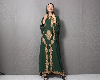 45a7dcd2f62 Green Womens Dubai Gold Embroidery Hanukkah Special Hoodie Green Kaftan  Dress Caftan Maxi Dress Wedding Bridesmaid Congregation Smaller Size