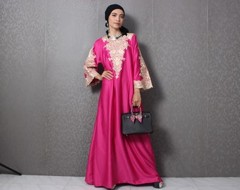 2af51fdba4 Pink Kaftan Dress, Moroccan Caftan Dress, Maxi Caftan Dress, Long Sleeve  Kaftan, Floral Embroidery Kaftan Dress, Simple Dress for Wedding