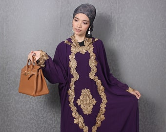 9fef790145 Party Summer Maxi Kaftan Dress, Purple Hooded Caftan Dress, Gold Embroidery Kaftan  Dress, Womens Caftan Hooded Dress Smaller Size