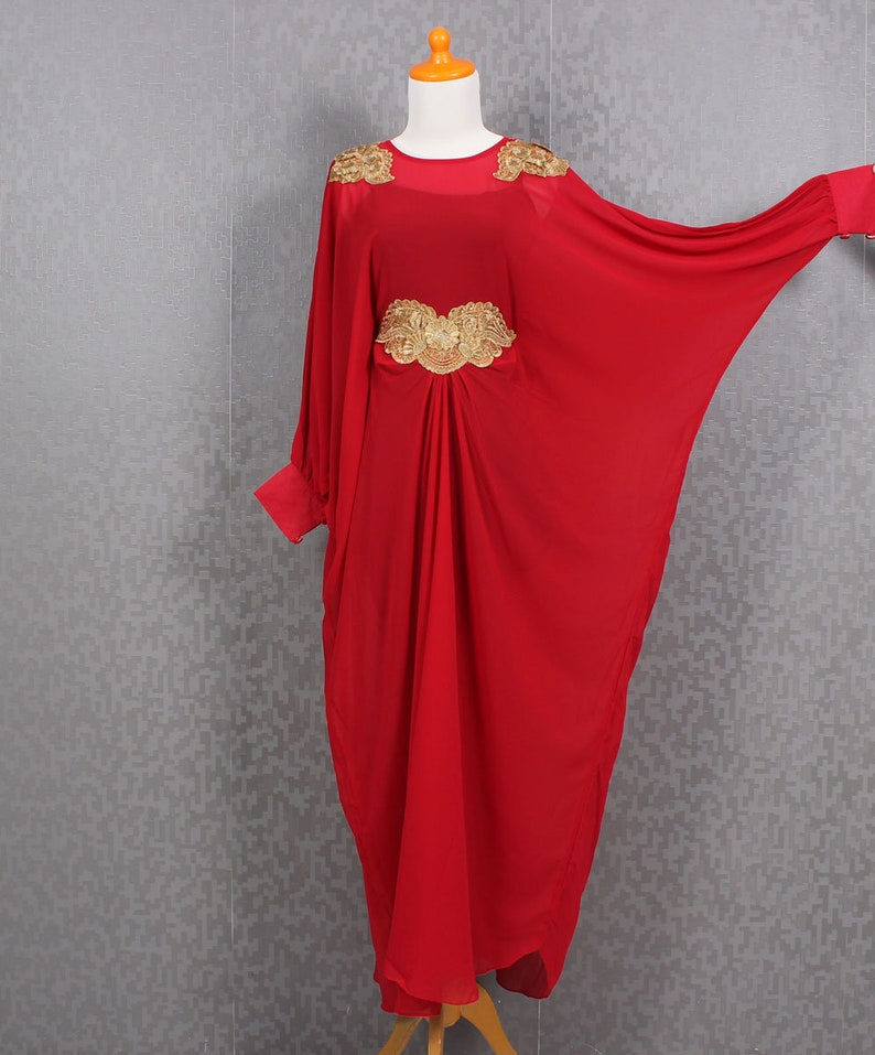 aa5248502f36 Red Kaftan Dress With Gold Embroidery Plus Size Dress Long | Etsy