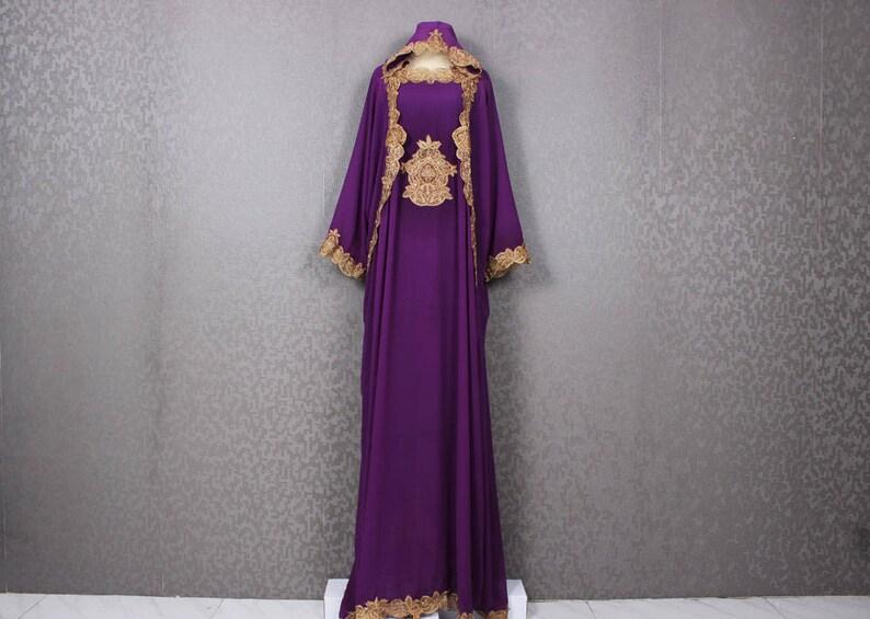 Bridesmaid Wedding Dark Purple Caftan Dress Fancy Gold Etsy