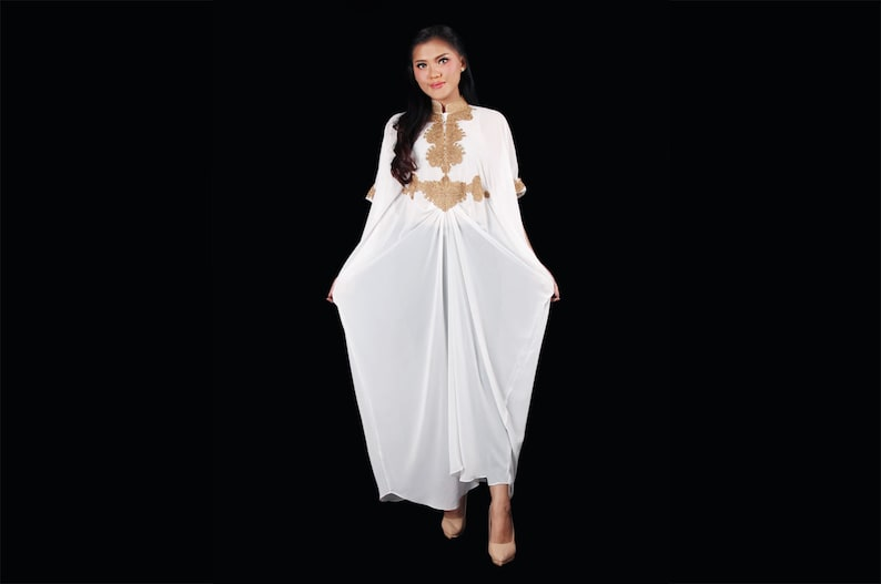 dfdd950c600 White Moroccan Maxi kaftan dress Bridesmaid Wedding Dress