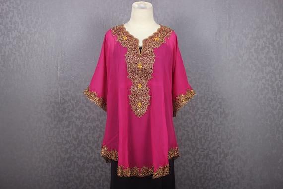 9209093f9bf Pink Blouse Chiffon Gold Embroidery Blouse Kaftan Tops Pink
