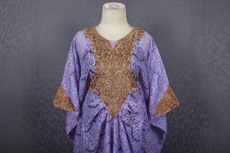584c8552fda Light Purple Moroccan Kaftan Maxi Dress Gold Embroidery