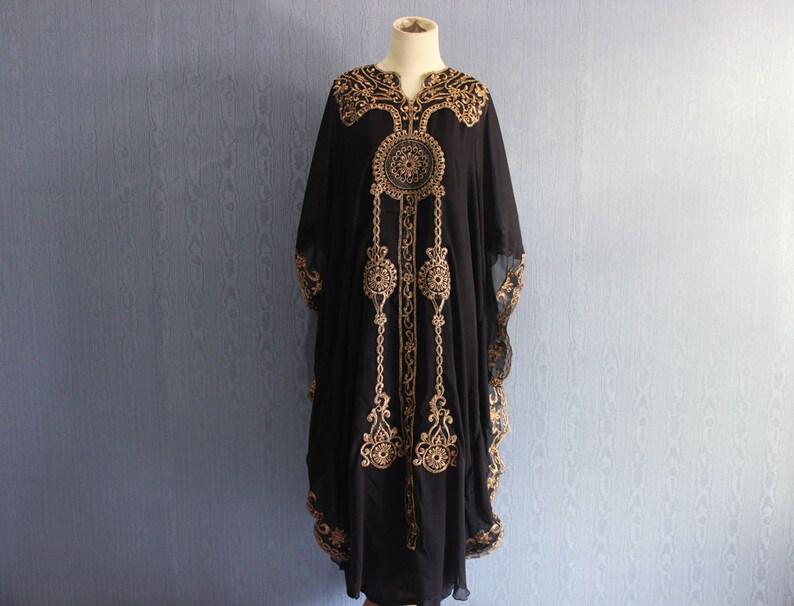33fe26b3e68 Black Moroccan Kaftan Maxi Dress Women s Clothing Black