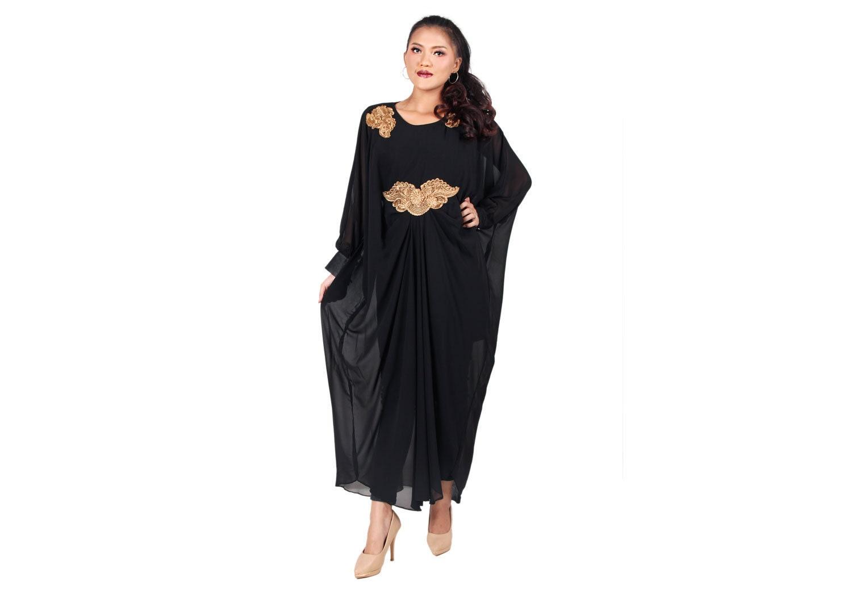Elegant Black Afantee Caftan Maxi Dress with lining ...
