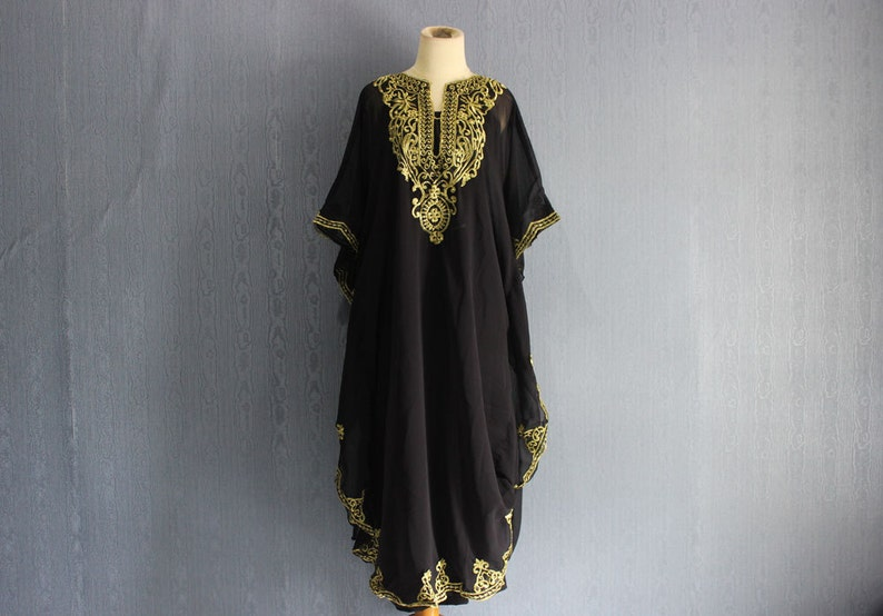deb0d433a3e Black Kaftan Dress Plus Size Maxi Caftan Dress Moroccan