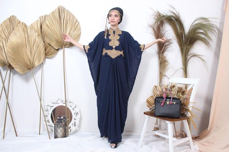 Navy Color embroidery Maxi dress/kaftan maxi dress/womens maxi image 0