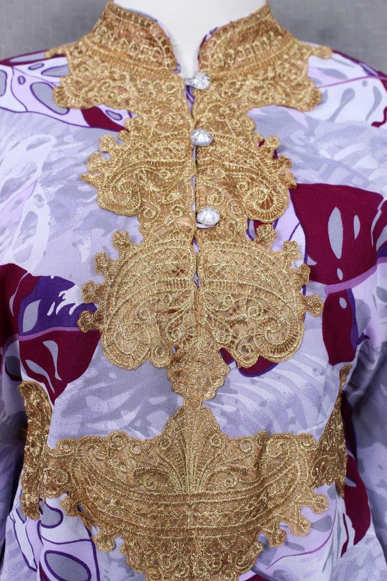 Loose Dress for Women Kaftan purple Dress with Gold Embroidery Plus Size Kaftan Dress Maternity Dress Chiffon Kaftan Kaftan Maxi Dress